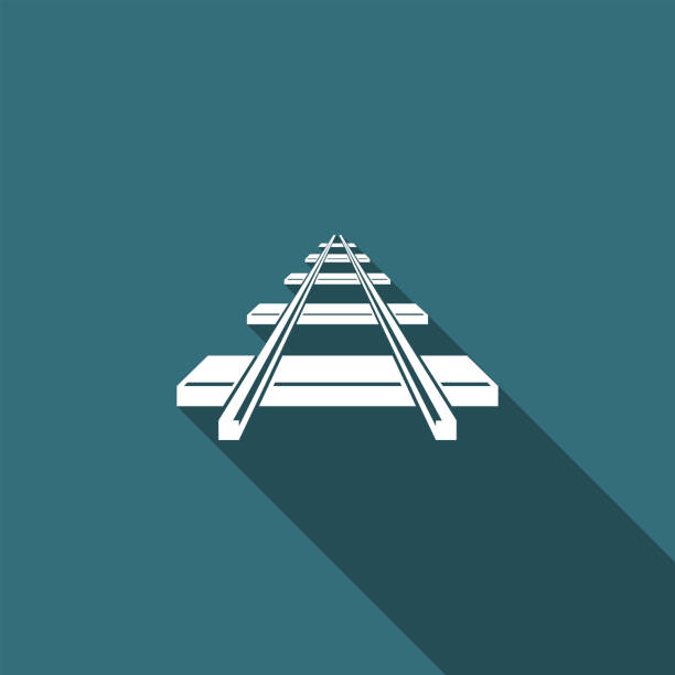 illustrations, cliparts, dessins animés et icônes de icône de chemin de fer isolé avec ombre portée. design plat. illustration vectorielle - voie ferrée