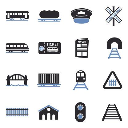 Railroad Icons. Two Tone Flat Design. Vector Illustration.