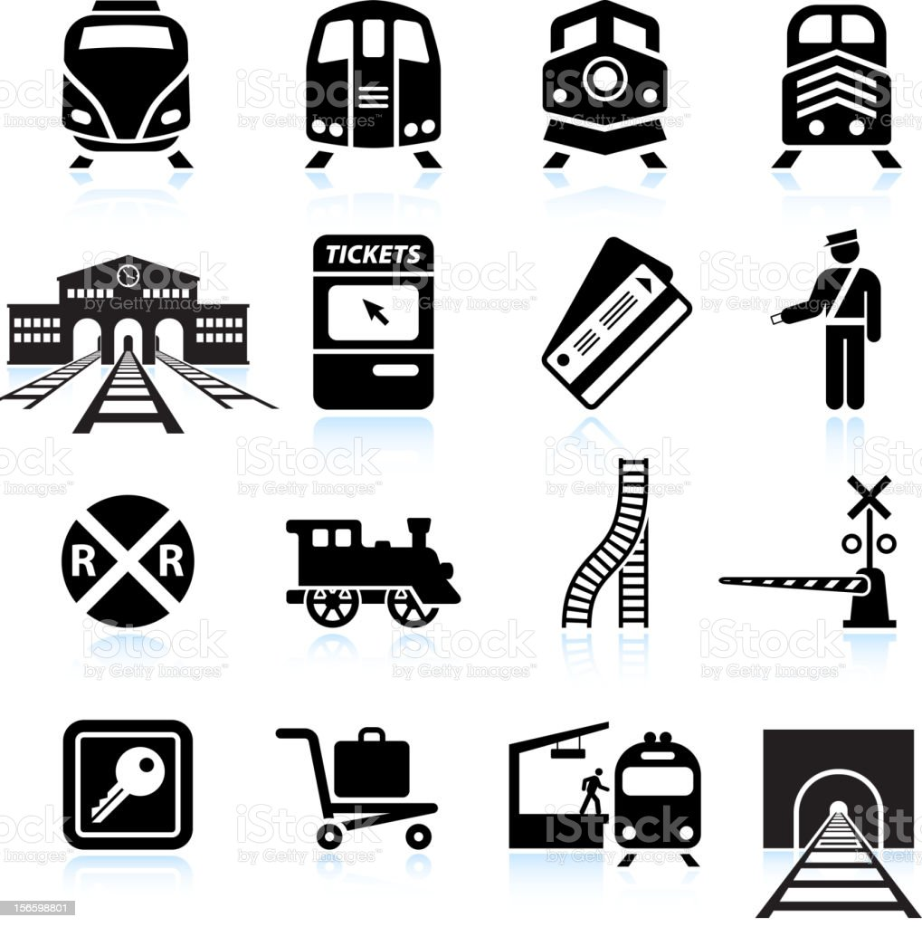 Railroad Station and Service black & white icon set vector art illustration