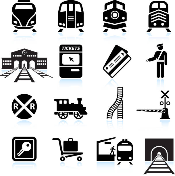 stockillustraties, clipart, cartoons en iconen met railroad station and service black & white icon set - trein