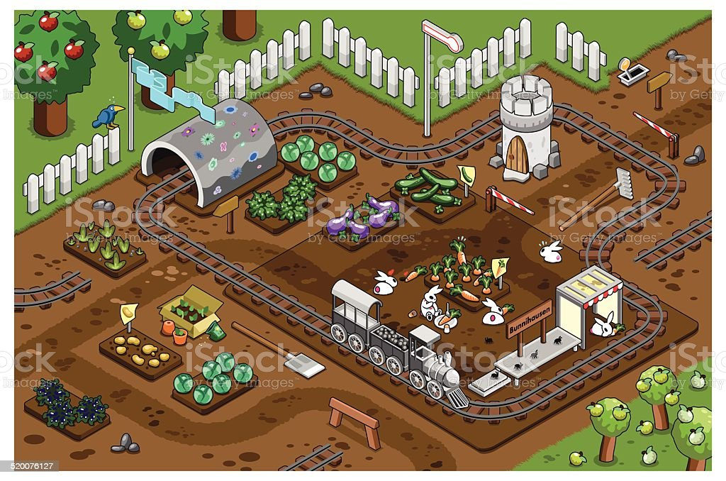 Railroad to Bunnyhausen with vegetable patches in apple garden vector art illustration
