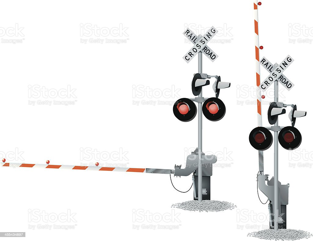Railroad Track Crossing vector art illustration