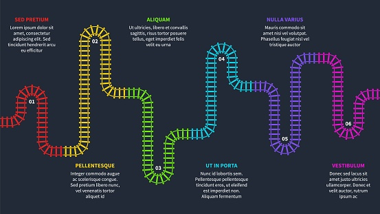 Railroad tracks. Railway timeline, tracking subway stations map top view, colorful stairs railways. Industrial maze vector infographics with copy space