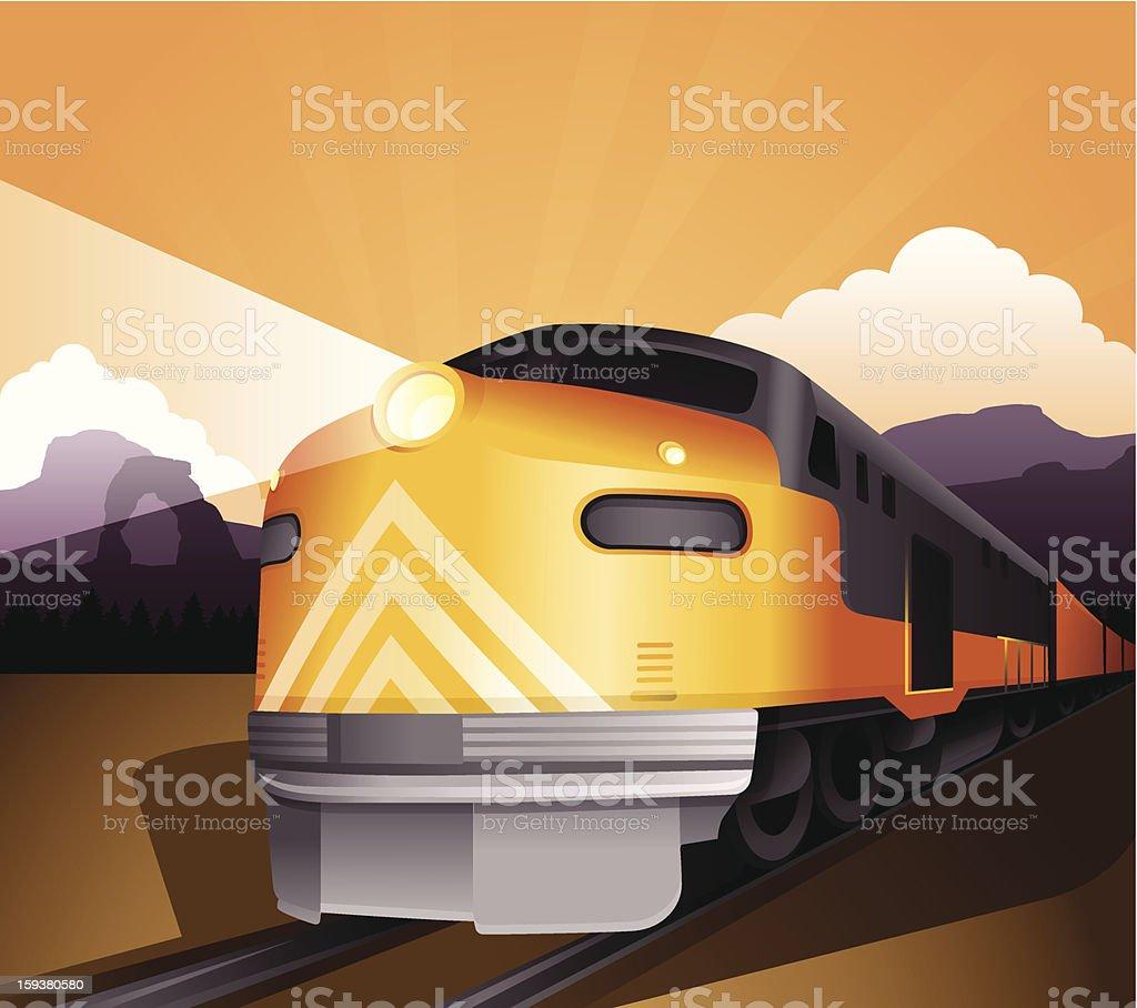 Railroad Train vector art illustration