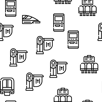 Railroad Transport Vector Seamless Pattern