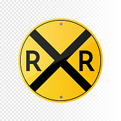 Railroad vector crossing traffic sign isolated on transparent background