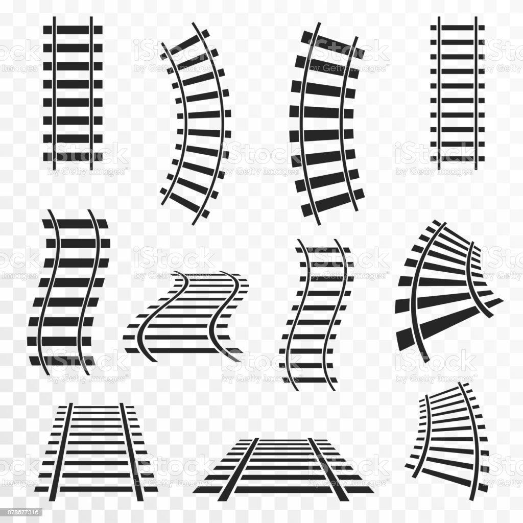 Schienen auf transparenten Hintergrund gesetzt. Geraden und gebogenen Eisenbahn-Strecken-Symbol – Vektorgrafik