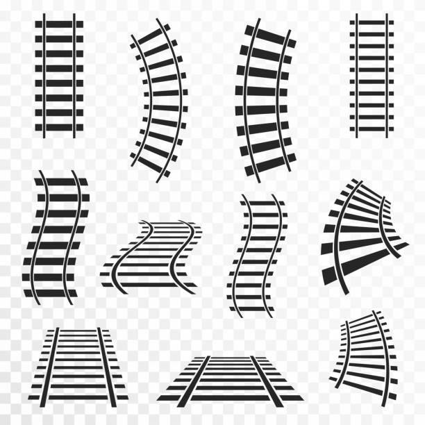 illustrations, cliparts, dessins animés et icônes de rails sur fond transparent. icône de pistes droites et courbes de chemin de fer - voie ferrée