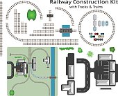 Railway and Station Building Construction Kit with Train
