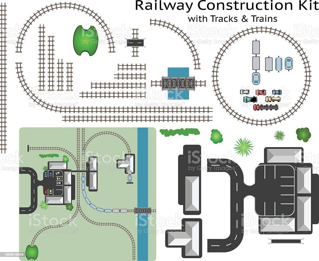 Railway Station Gebäude Bau Set mit Zug – Vektorgrafik