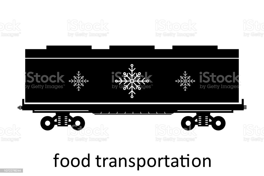 Railway Carriage Of Food Transportation With Name Cargo Freight Forwarding  Transport Vector Illustration Side View Isolated Stock Illustration -