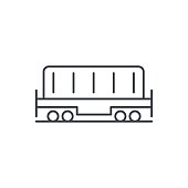 Railway container, wagon load thin line icon. Linear vector symbol