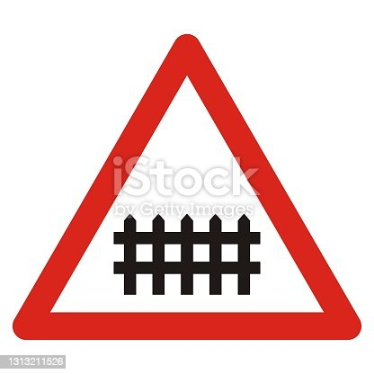istock railway crossing with barriers, road sign, eps. 1313211526