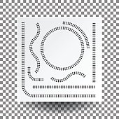 Railway curve, straight, circle, arc, collection set, illustration vector blank white square paper on transparent and real shadow.
