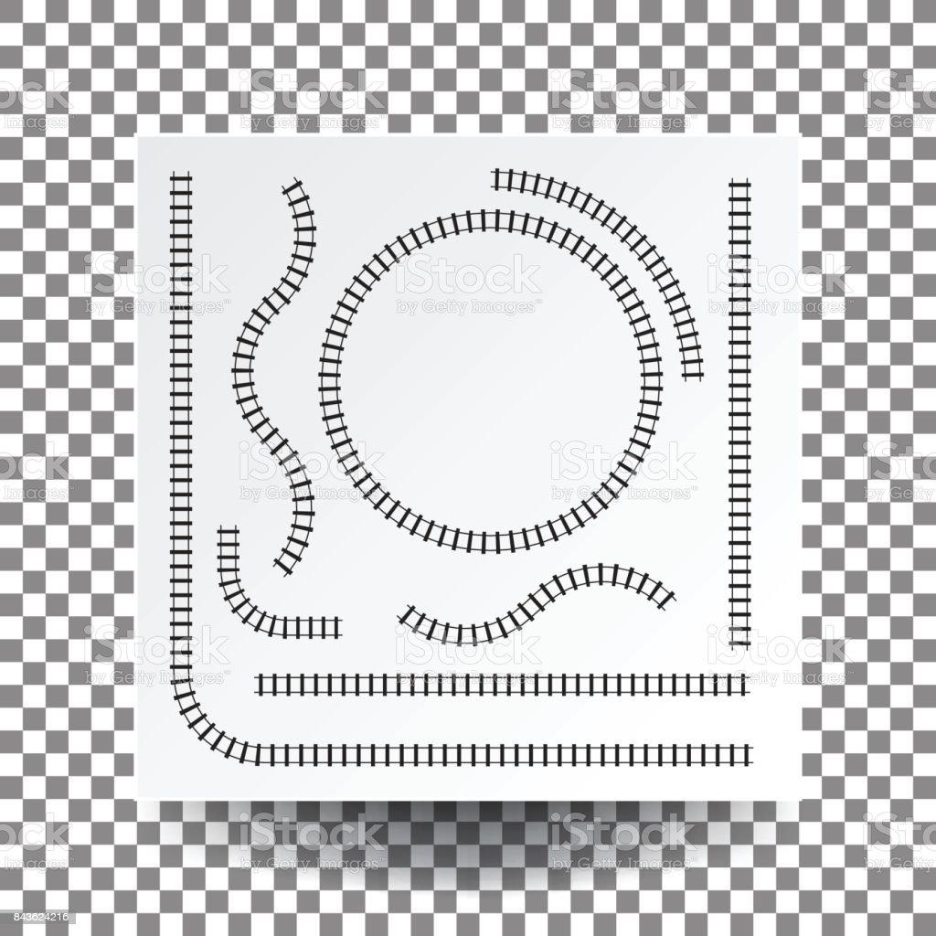 Eisenbahn-Kurve, gerade, Kreis, Bogen, Sammlungssatz Illustration Vektor weiße quadratische Blankopapier auf transparente und echte Schatten. – Vektorgrafik