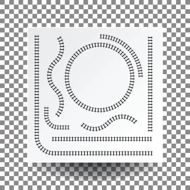 illustrations, cliparts, dessins animés et icônes de courbe de voie ferrée, droit, cercle, arc, jeu de collection, illustration vecteur vide blanc papier carrée sur l'ombre transparente et réel. - voie ferrée