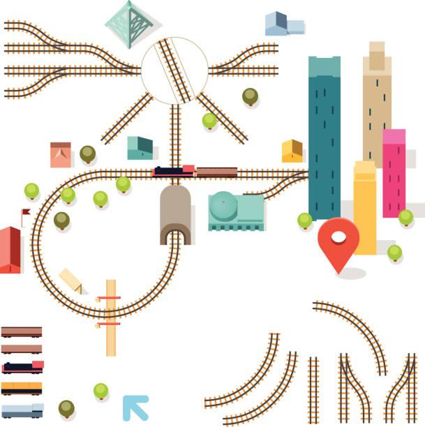 illustrations, cliparts, dessins animés et icônes de kit de ferroviaire - voie ferrée