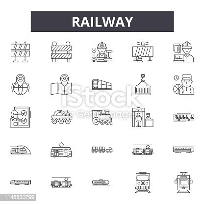 Railway line icons, signs, vector set, outline concept linear illustration