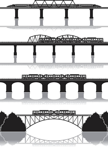 Railway / silhouette Illustration of the building railway bridge stock illustrations
