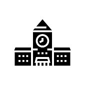 railway station building with clock glyph icon vector. railway station building with clock sign. isolated contour symbol black illustration