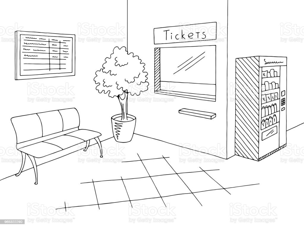 Railway station graphic black white ticket office interior sketch illustration vector royalty-free railway station graphic black white ticket office interior sketch illustration vector stock vector art & more images of architecture