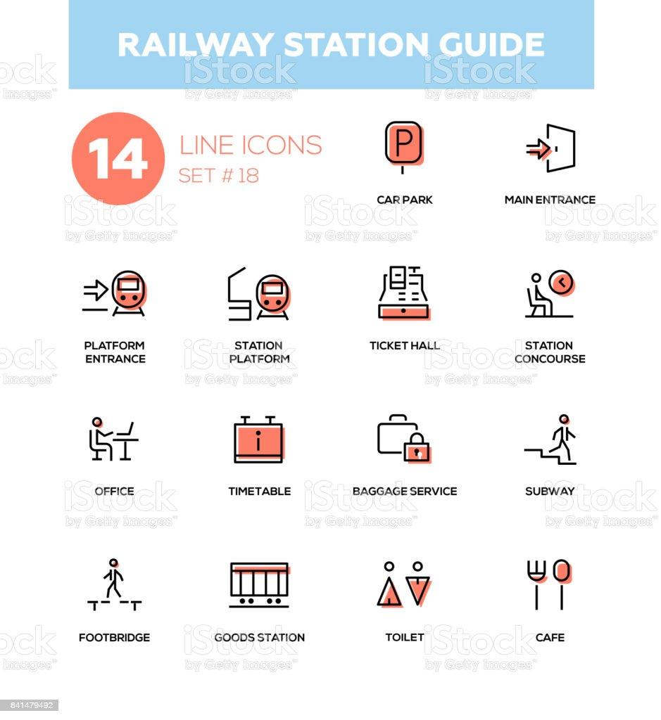 Railway Station Reiseführer Moderne Einfache Symbole Piktogramme Set ...