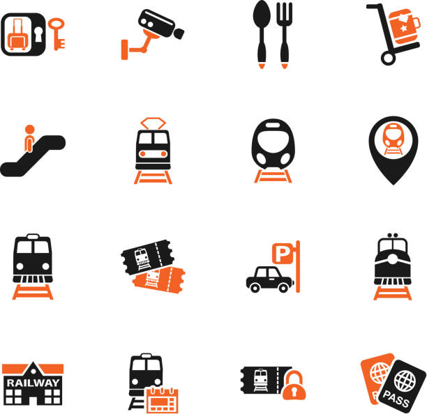 railway station icon set railway station web icons for user interface design high speed train stock illustrations