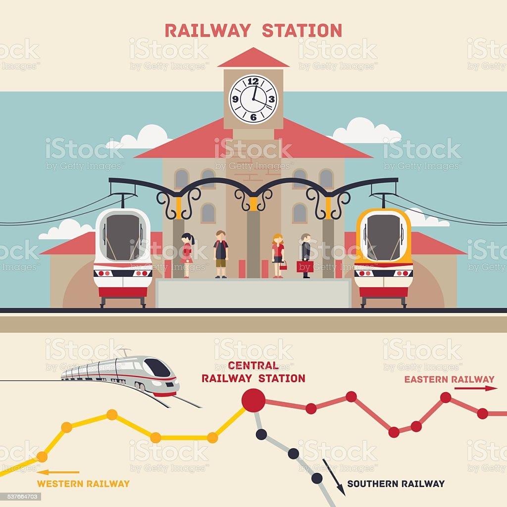 Railway station illustration vector art illustration