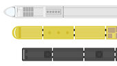 Railway station on a white background. Set of trains. View from above. Cartoon flat style vector illustration.