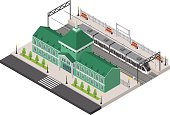 Railway Station, Platform and Train Isometric. Vector