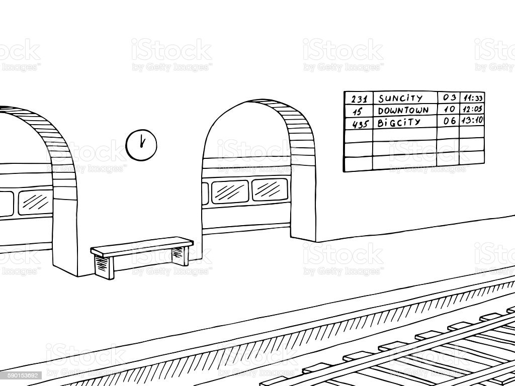 railway station platform train graphic black white sketch