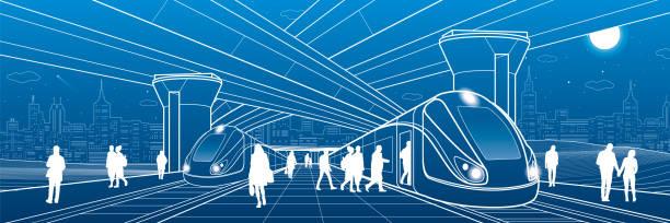 Railway station under the overpass. Passengers board the train. Urban life scene. City Transport infrastructure. Vector design outline illustration vector art illustration