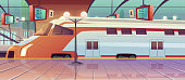 Railway station with high speed train and platform with schedule. Vector cartoon illustration of empty interior of subway waiting terminal with locomotive on railroad. Arrival passenger express