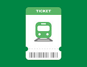 Railway ticket on train in flat green isolated design. Travel pass card on subway template with barcode. Locomotive trip ticket. Vector EPS 10.
