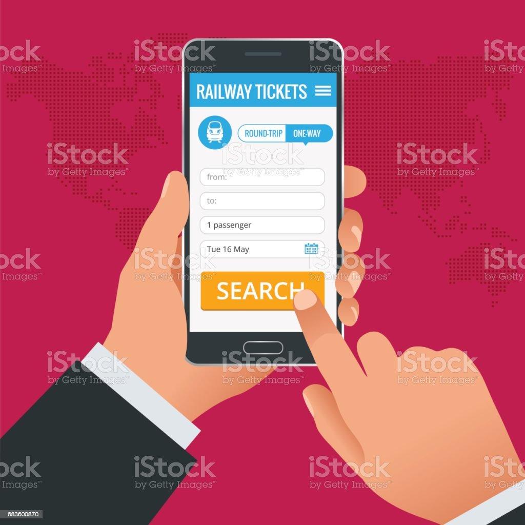 Bahntickets buchen online-app-Konzept. Buchen Sie Ihr Ticket online und zahlen Sie den Betrag an überall in der Welt – Vektorgrafik
