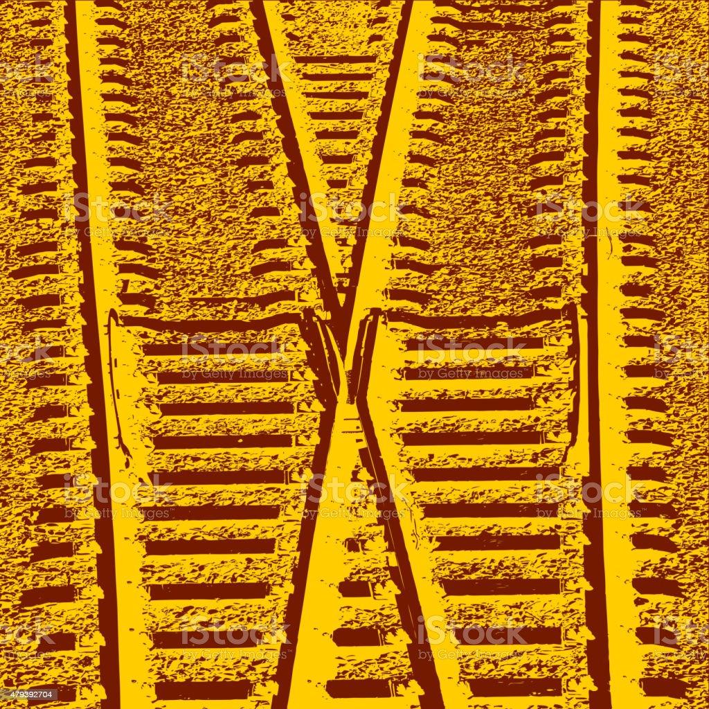 Railway Tracks and Switch. Vector illustration. vector art illustration