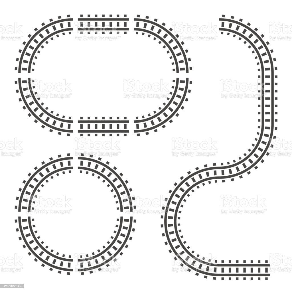 Bahngleise Bauelemente. Vektor-Zeichen-Symbol. Isoliert auf weißem Hintergrund. – Vektorgrafik