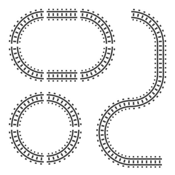 railway tracks construction elements. vector sign symbol. isolated on white background. - railroad track stock illustrations, clip art, cartoons, & icons