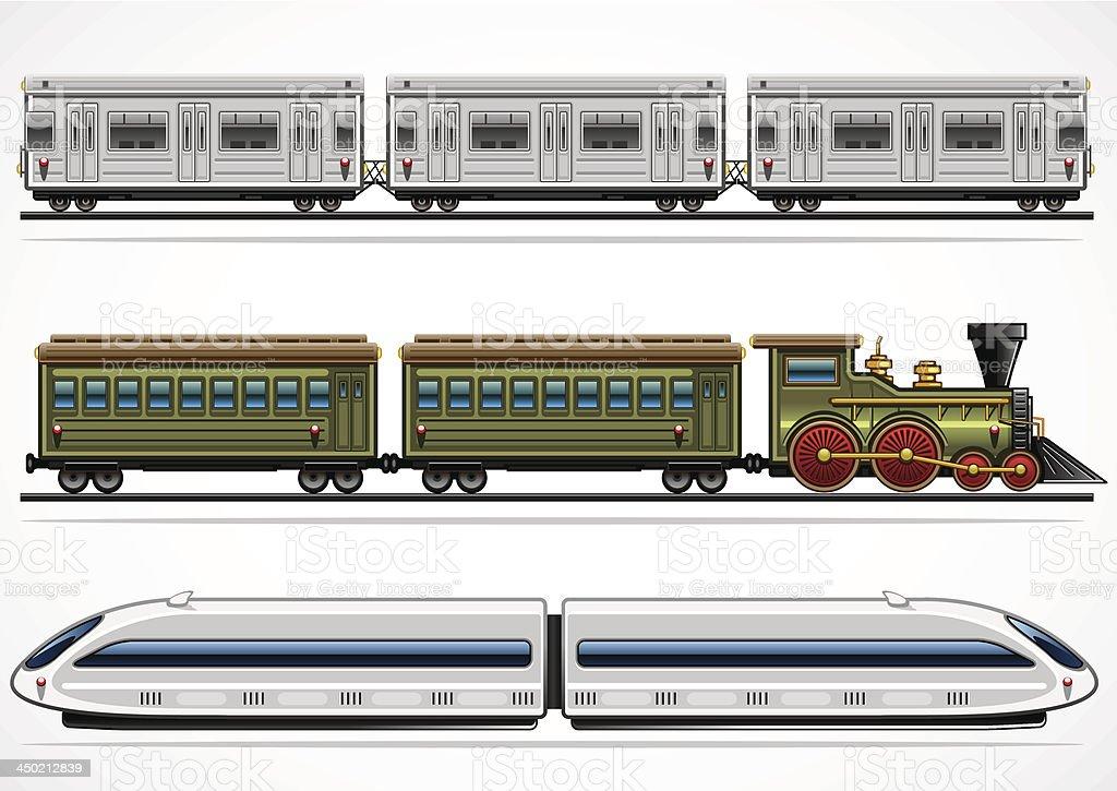Railway transport collection vector art illustration