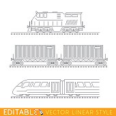 Railway transport. Locomotive, boxcars and Modern high-speed train. Editable outline sketch icon set.