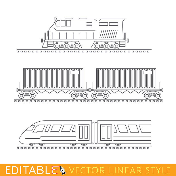 railway transport. locomotive, boxcars and modern high-speed train. editable - 기차 실루엣 stock illustrations