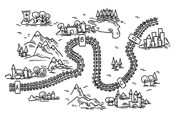 Railway Trip Map Drawing vector art illustration