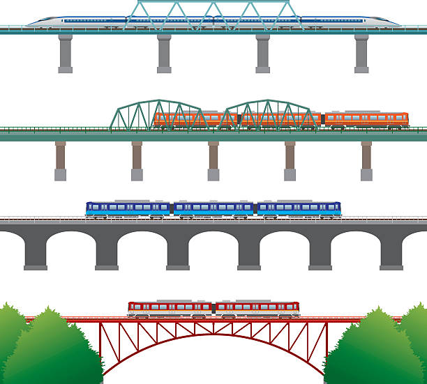 Railway Illustration of the Railway railway bridge stock illustrations
