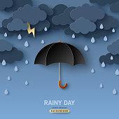 istock Rain and black umbrella 1225639658