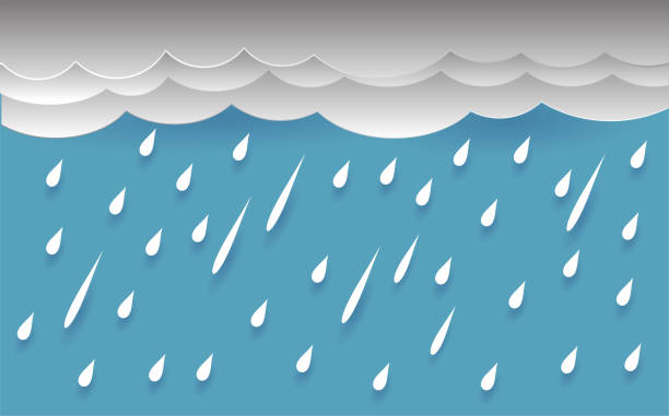 rain and cloud, vector design - white background stock illustrations