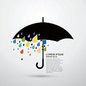 Rain and umbrella, abstract vector illustration