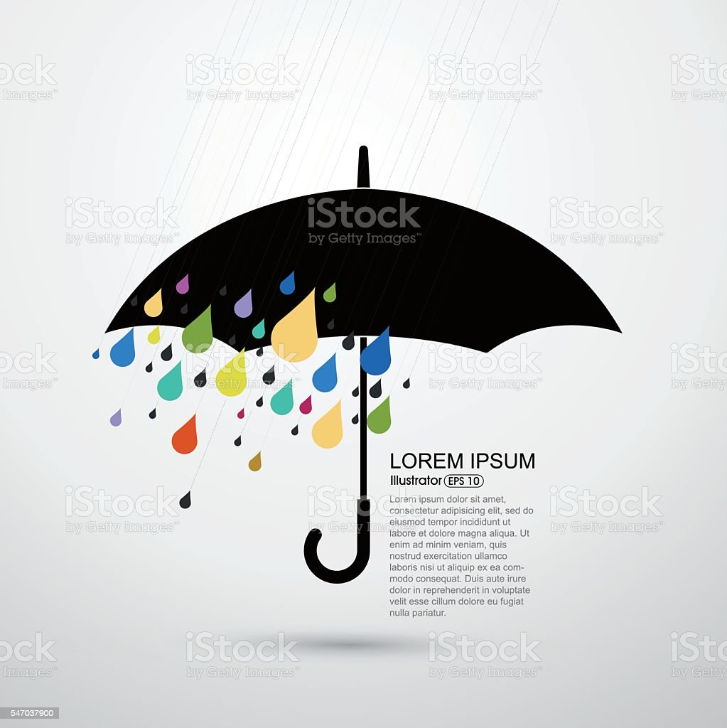 Rain and umbrella, abstract vector illustration vector art illustration