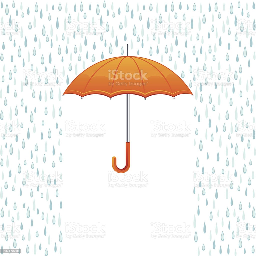 Rain and umbrella vector art illustration