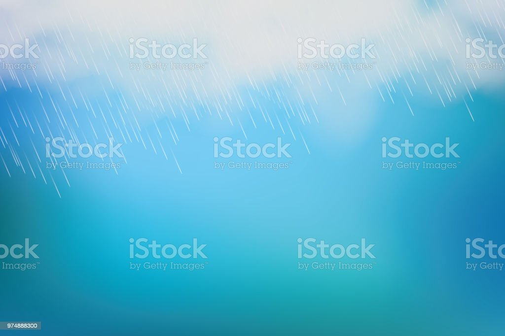 Rain and white cloud isolated on blue background. Vector vector art illustration