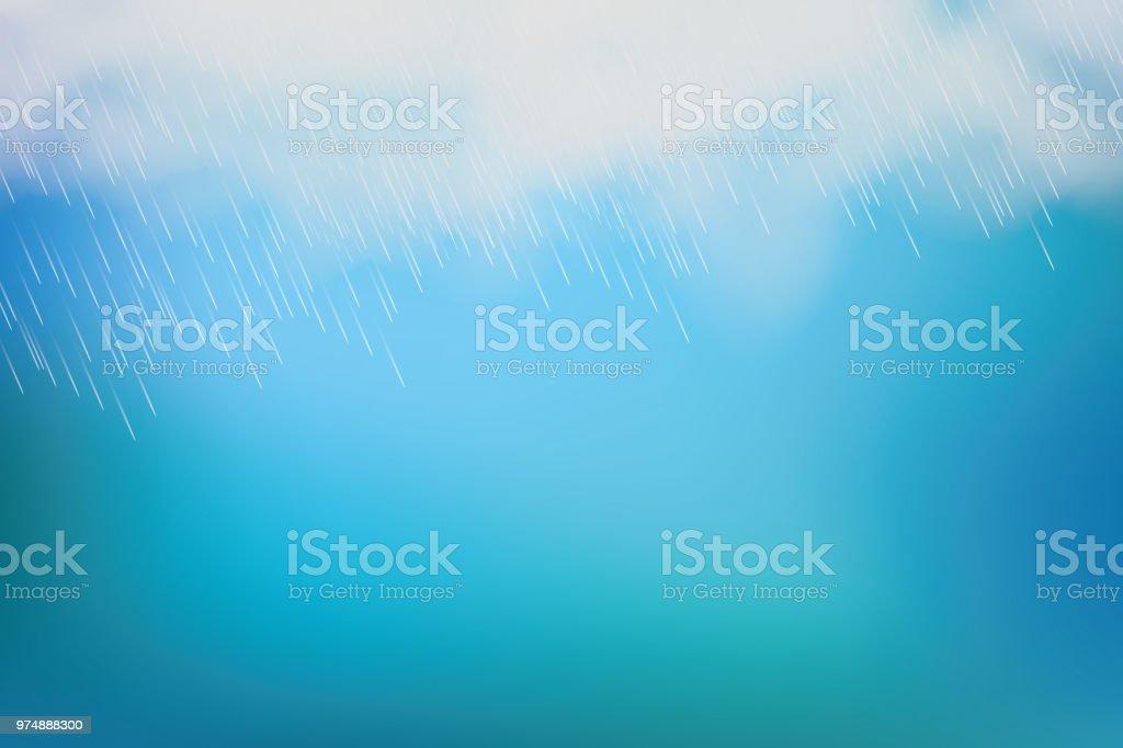 雨と白い雲青い背景に分離されました。ベクトル ベクターアートイラスト